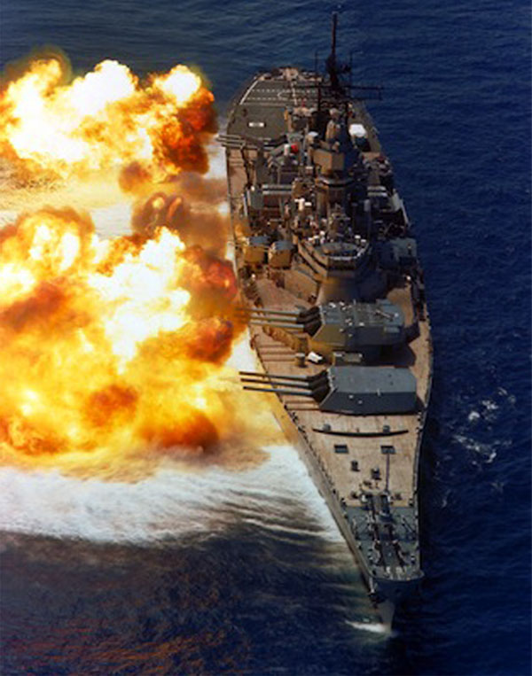 USS Iowa firing during 1984 naval exercise